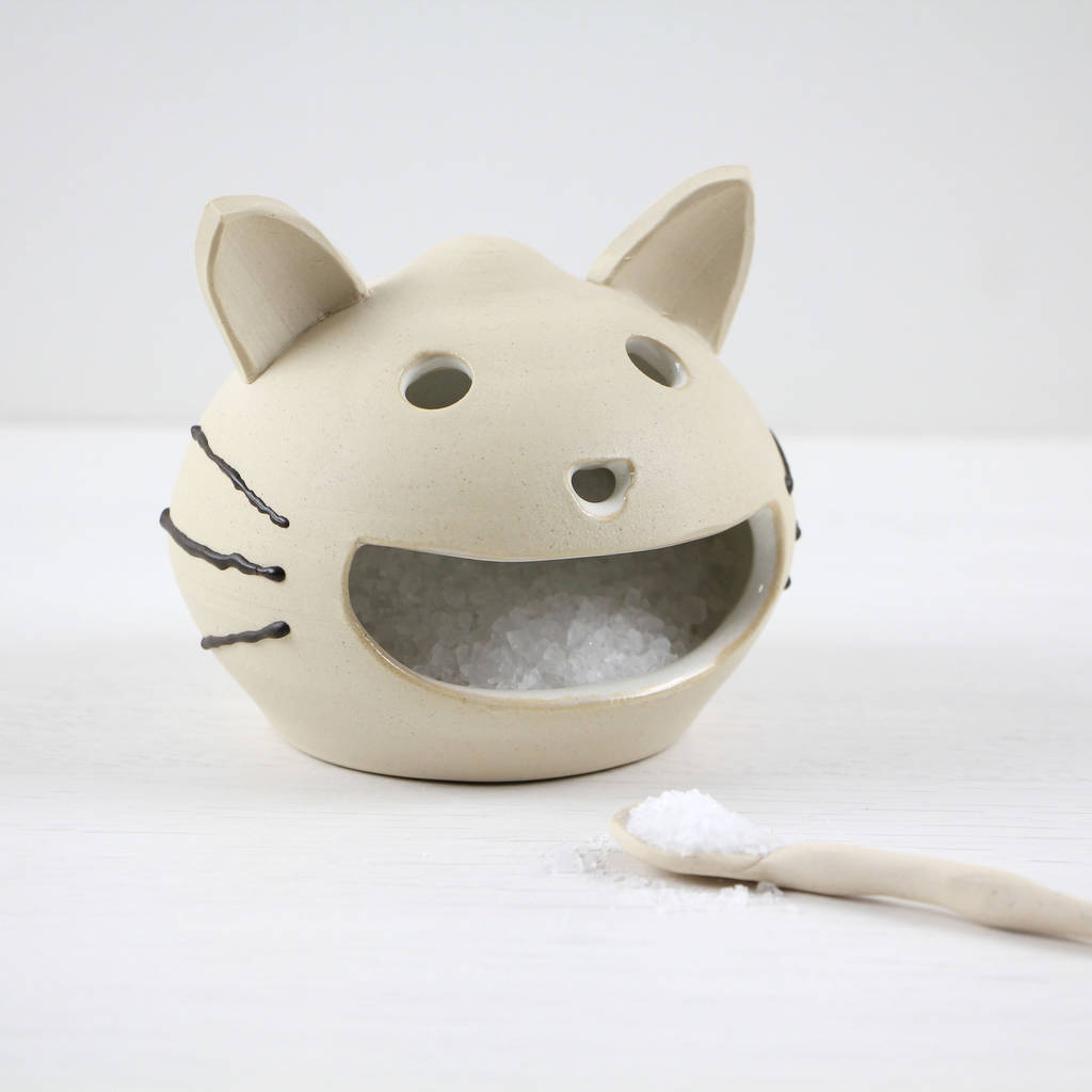 Ceramic Happy Cat Salt Cellar