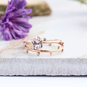 Achillies And Dahlia 9ct Rose Gold Boho Stack Rings - natural artisan wedding trend