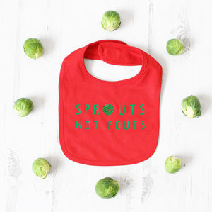 'Sprouts Not Pouts' Sparkly Christmas Baby Bib - whatsnew