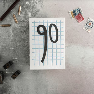 90 Tall Number Letterpress Birthday Card