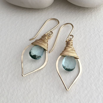 Aquamarine Quartz Leaf Hoops