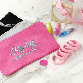 Girls Personalised Pencil Case And Hair Bobble Set