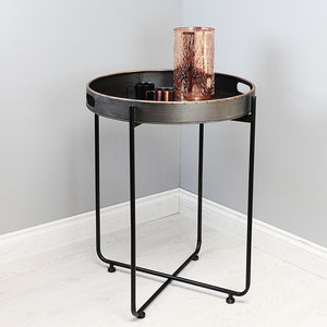 Copper Edged Metal Tray Table - furniture