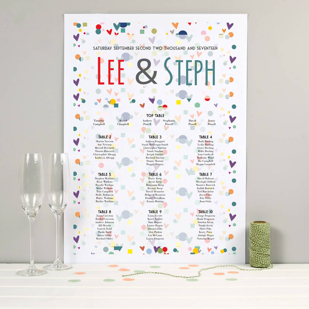 Wedding Seating Table Plan: Confetti Design By Spotty N