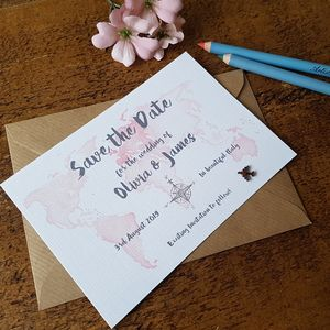 Watercolour Travel Save The Date Card