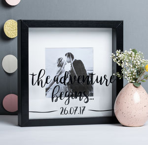 Personalised Adventure Begins Wedding Frame
