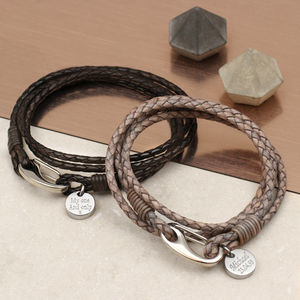 Personalised Leather Triple Wrap Bracelet - bracelets
