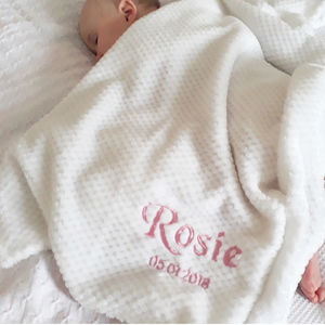 Personlised White Honeycomb Baby Blanket - personalised