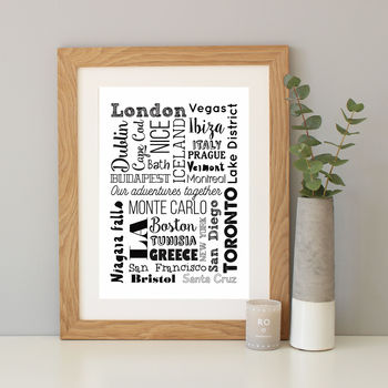 Personalised Favourite Destinations Print