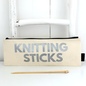 'Knit Me' Knitting Needle Zipper Bag - sewing & knitting