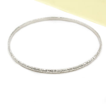 Skinny Sterling Silver Textured Bangle