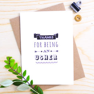 'Thanks For Being An Usher' Card - wedding thank you gifts