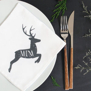 Personalised Reindeer Christmas Napkin - kitchen