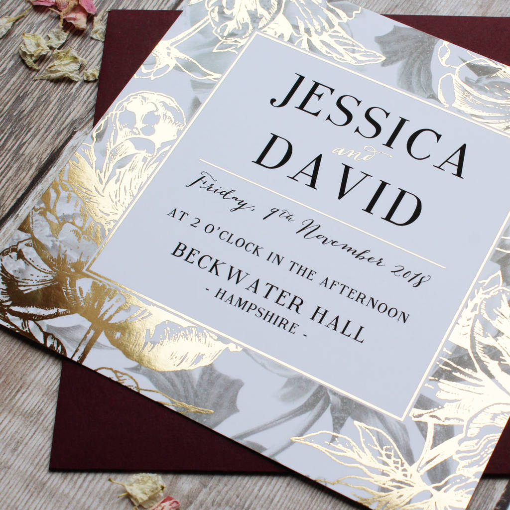 gilded flowers gold foil wedding invitation by vanilla retro