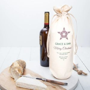 Personalised Christmas Star Wine Bottle Bag - drink & barware