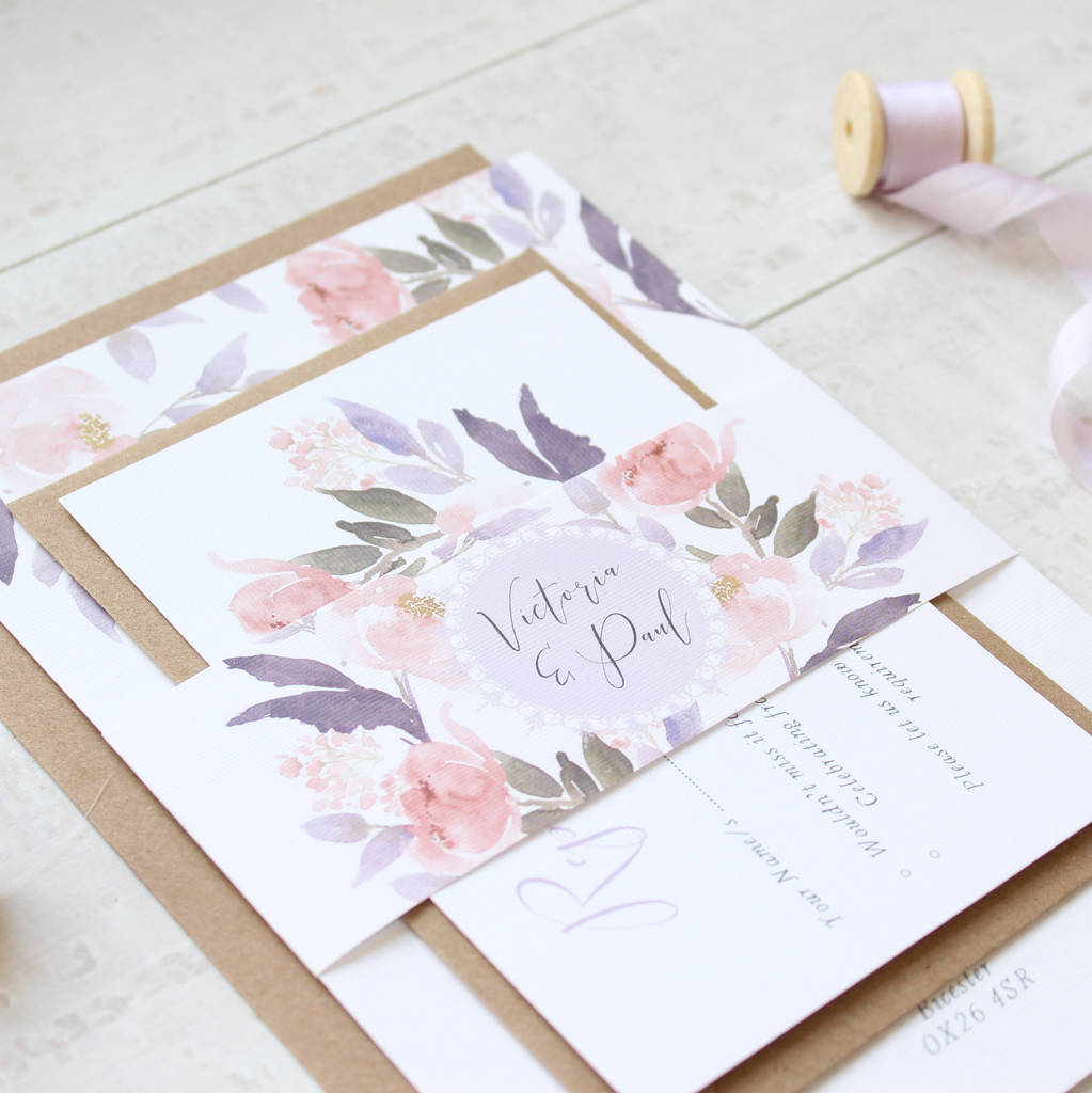 dusk peony a5 day wedding invitation sample by the bridal paperie ...