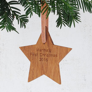 Personalised Baby's First Christmas Star - view all decorations