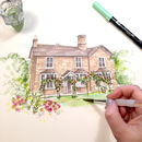 Personalised House Portrait Hand Illustrated