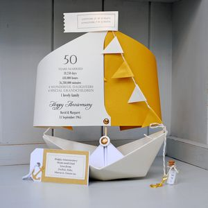 50th Golden Wedding Anniversary Paper Boat Card - anniversary cards