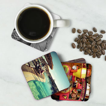 Set Of Four Personalised Photo Drink Coasters