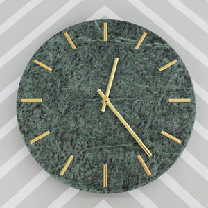 Gold Chrome And Green Marble Wall Clock - home accessories