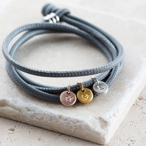 Grey Leather Personalised Charm Bracelet