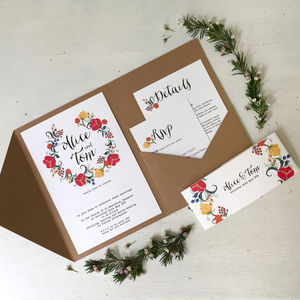 Pocketfold Wedding Invitation - summer weddings