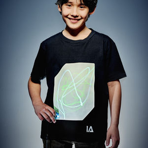 Childrens Interactive Green Glow Tshirt In Black - clothing
