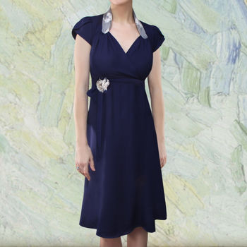 Classic 1940s Style Day Dress In French Navy Crepe