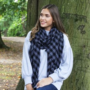Blue And Black Block Chequered Scarf