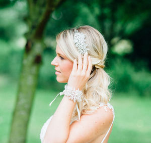 Amelia Vintage Inspired Head Dress - bridal hairpieces