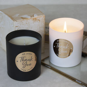 Personalised Thank You Scented Candle - thank you gifts
