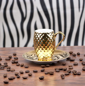Gold Coffee Cup With Pineapple Pattern