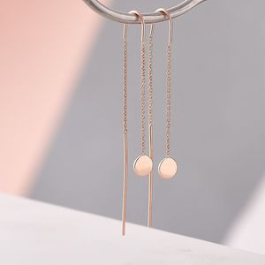 Dainty Disc Chain Earrings - threader earrings