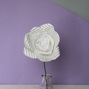 Single White Storyteller Paper Rose