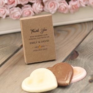 Kraft Personalised Chocolate Wedding Favour Gift Boxes - heart favours