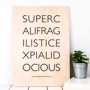 'Supercali' Wooden Mary Poppins Print - children's room