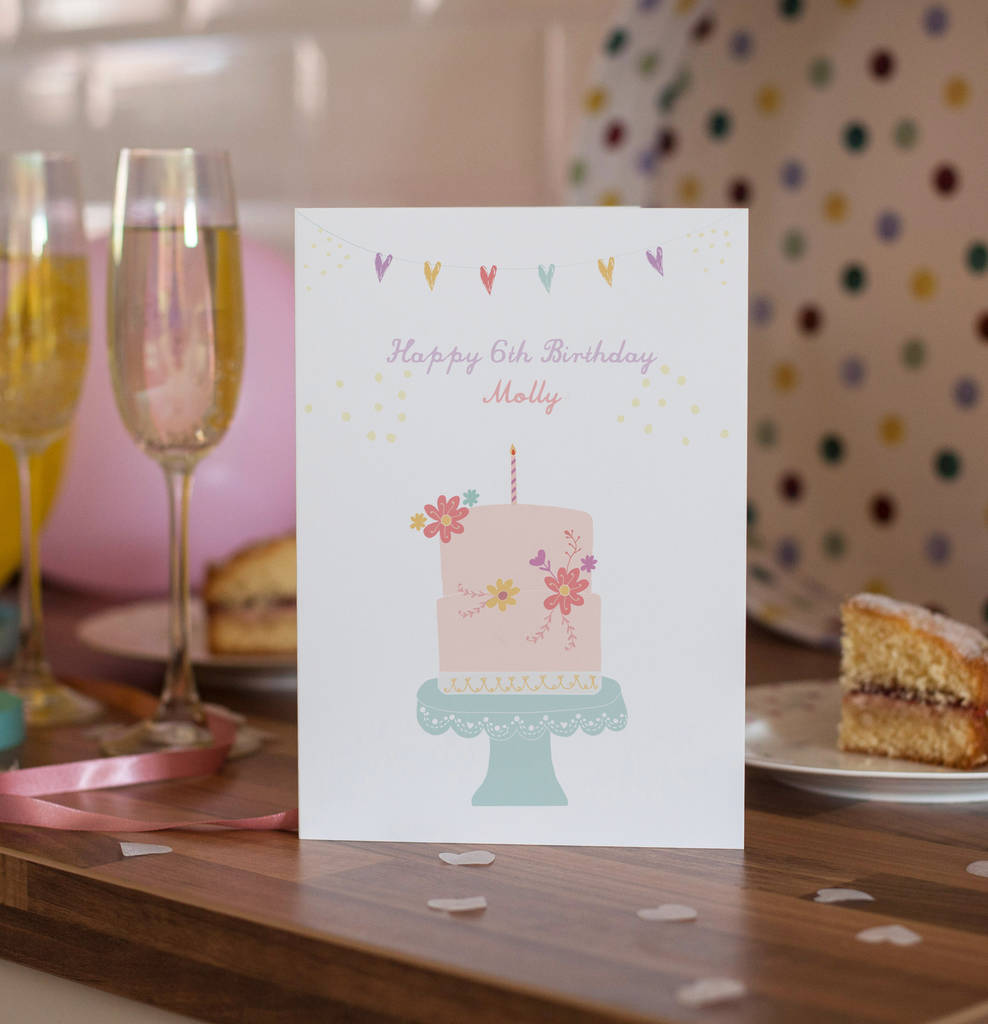 Personalised Happy Birthday Flowers And Cake Card By Rosefinch