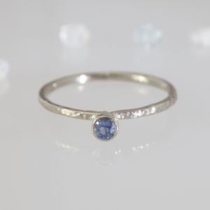 Sapphire White Gold Ring 18ct Anniversary Birthstone - unique engagement rings
