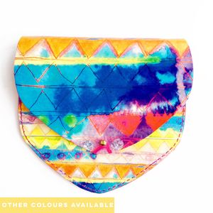 'Watercolour Prints' Leather Coin Purse - summer sale