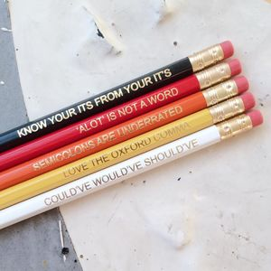 Ombre Red Grammar Rules Pencil Set
