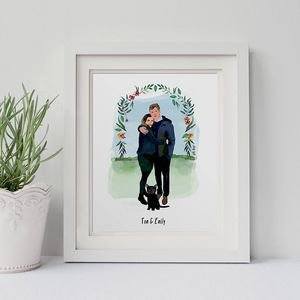 Personalised Couple Portrait Illustration Print - paintings