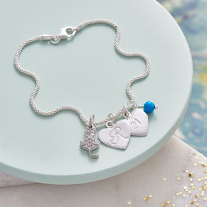 Cat Lover Personalised Silver Cat Charm Bracelet