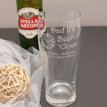 Personalised Dad It's Beer O'clock Pint Glass