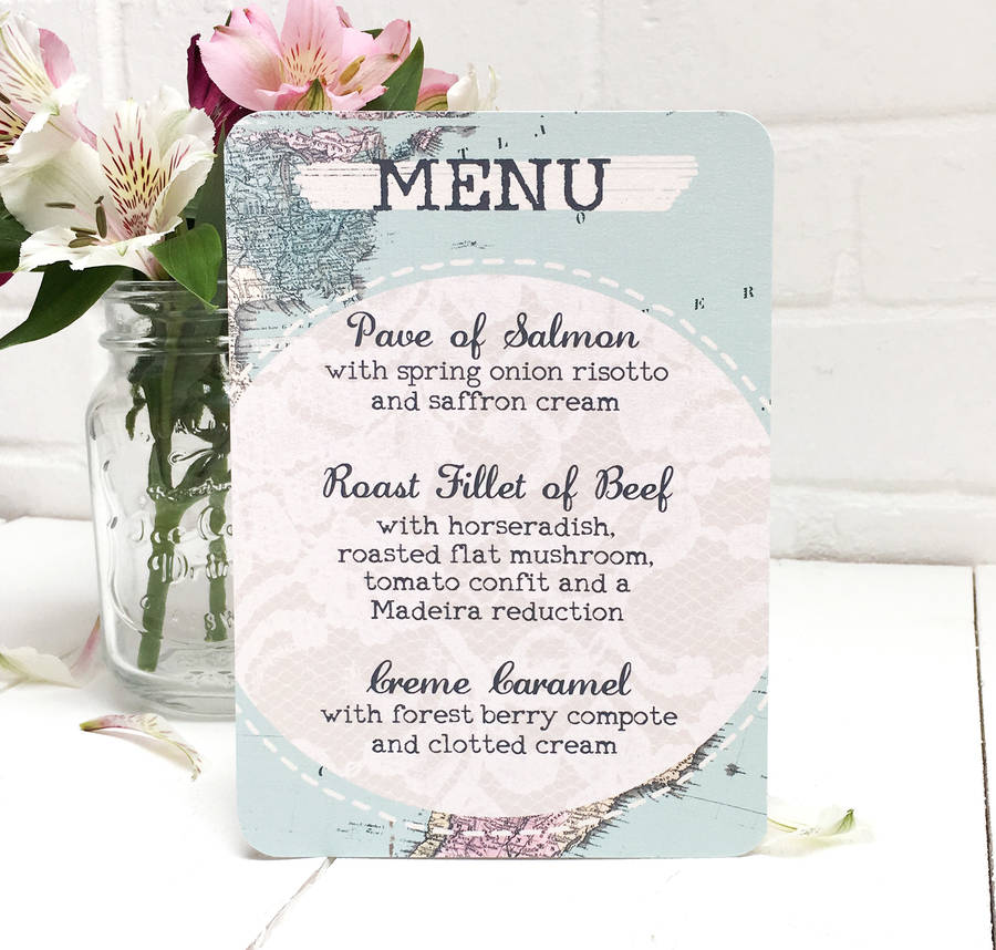 Travel Inspired Map Wedding Breakfast Menu Card