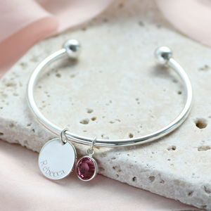 Child's Personalised Disc Birthstone Bangle - bracelets & bangles