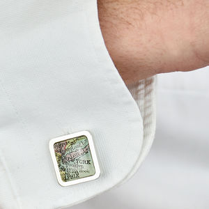 Map Personalised Sterling Silver Cufflinks Square - cufflinks
