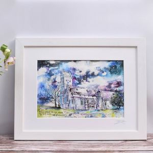 Personalised Wedding Venue Watercolour Painting - paintings