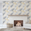 Gold And Black Palm Leaves Self Adhesive Wallpaper