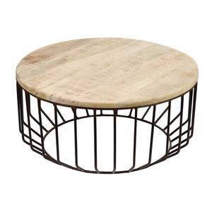Metal Cage And Oak Wide Side Table - side tables
